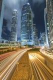 Zentraler Bezirk von Hong Kong-Stadt nachts Stockfotografie