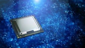 Zentraler Computer-Prozessor auf blauem digitalem Codehintergrund - CPU-Konzept Stockbilder