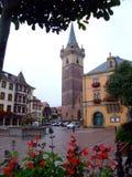 Zentraler Ort der Obernai Stadt - Elsass Stockfoto