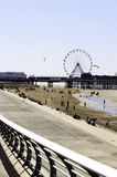 Zentraler Pier und Strand Blackpools Lizenzfreies Stockfoto