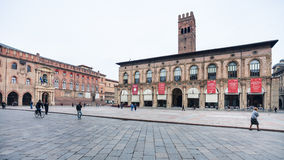 Zentraler Platz in Bolognastadt Marktplatz Maggiore Stockfotografie