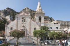 Zentraler Platz in Taormina, Sizilien Lizenzfreies Stockbild