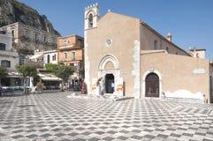 Zentraler Platz in Taormina, Sizilien Stockfotografie