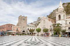 Zentraler Platz in Taormina, Sizilien Stockfoto