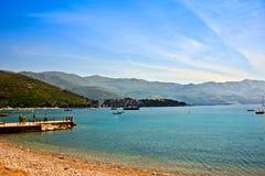 Zentraler Strand in Budva, Montenegro meerblick Stockfotografie