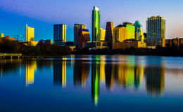 Zentraler Texas Magical Skyline Reflection Austin Texas Lizenzfreie Stockbilder