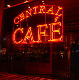 Zentrales Café-Zeichen Stockbilder