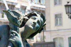 Zentrales Lissabon-Bronzestatue-Detail Stockfotos