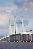 Zentrieren Sie Überspannung der neuen Severn Brücke, Großbritannien stockfotografie