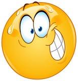 Zenuwachtige glimlach emoticon stock illustratie