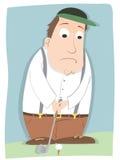 Zenuwachtige golfspeler stock illustratie
