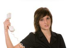 Zenuwachtige vrouw met telefoon Royalty-vrije Stock Afbeeldingen