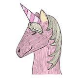 Zenverwarring en krabbeleenhoorn Zentangle roze merrie Zendoodle magisch paard Vector kleurend boek vector illustratie