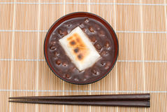 Zenzai. Japanese sweet red-bean soup(whole beans in) with Mochi(Rice cakes) named Zenzai Royalty Free Stock Photos