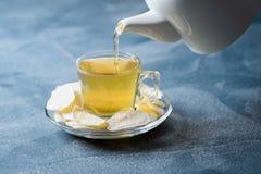 Zenzero candito con tè verde Fotografia Stock Libera da Diritti