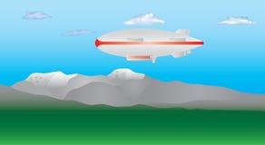 Zepelim no céu Ilustração Stock
