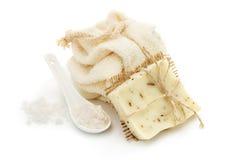 Zepen, reinigingsmiddelen en overzees zout Royalty-vrije Stock Foto