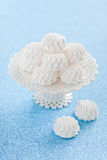 Zephyr. White vanilla marshmallows on cake stand, selective focus Royalty Free Stock Photo