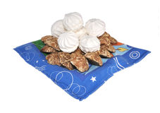 The zephyr and gingerbreads on a towel. The zephyr and gingerbreads lay on a towel Royalty Free Stock Photography