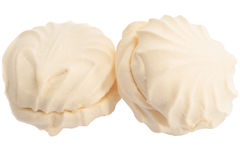 Zephyr marshmallow cakes. Two isolated marshmallow ( zephyr ) cakes Stock Images