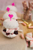 Zephyr marshmallow cakes as sandwiches Stock Photography