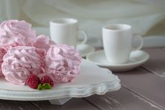Zephyr or marshmallow with raspberry flavor Royalty Free Stock Photography
