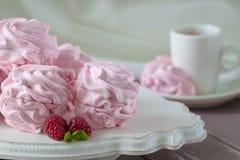 Zephyr or marshmallow with raspberry flavor Stock Photos