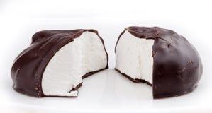 Zephyre blanc vitré de chocolat au lait Photo stock