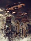 Zeppelin au-dessus d'une ville illustration libre de droits