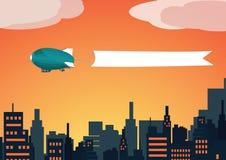 Zeppelin di tramonto con la bandiera Immagine Stock Libera da Diritti