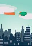 Zeppelin di vettore con la bandiera Immagini Stock Libere da Diritti