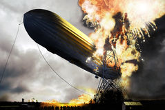 Zeppelin disaster. 3D re-creation based on the  ancient images, from the disaster during