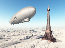 Zeppelin and Eiffel Tower Royalty Free Stock Photo