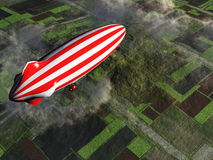 Zeppelin flying over farmland. 3D digital render Stock Photos