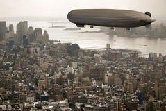 Zeppelin over Manhattan Stock Image
