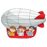 Zeppelin with passenger cartoon. Full color Royalty Free Stock Photo