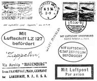 Zeppelin Related Postmarks. A collection of black and white postmarks and related markings from mail carried on the Hindenburg and Graf Zeppelin in the 1930s Royalty Free Stock Image
