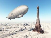 Zeppelin und Eiffelturm lizenzfreie abbildung