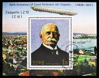 Zeppelinare LZ 12 (Z III), 150. födelsedag av Ferdinand Graf von Zeppelin serie, circa 1988 arkivfoto