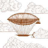 Zeppelinaren i moln på himmelhandattraktion skissar vektor Royaltyfria Foton