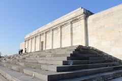 Zeppelinfeld tribune, the `stage` of the infamous pre-World War 2 Nazi party rallies of Nuremberg, Germany stock image