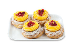 Zeppola di San Giuseppe Traditional italian dessert Stock Photos