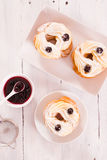 Zeppole with pastry cream. Stock Images