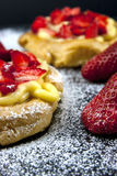 Zeppole with strawberry- tipical italian pastry Stock Photo