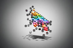 Zerbröckelncursor-Farbpixel-Computermaus Stockfoto