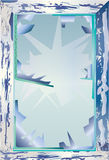 Zerbrochene Fensterscheibe im Winter Stockfotografie