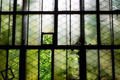 Zerbrochene Fensterscheiben in der alten Fabrik lizenzfreies stockfoto