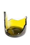 Zerbrochene grüne Weinflasche stockbild