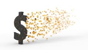 Zerbrochenes Dollarzeichen, das mit Wind, Illustration 3d zerstreut Stockbilder