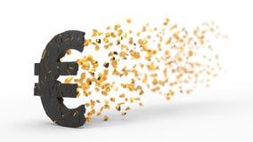 Zerbrochenes Eurozeichen, das mit Wind, Illustration 3d zerstreut Stockfotografie
